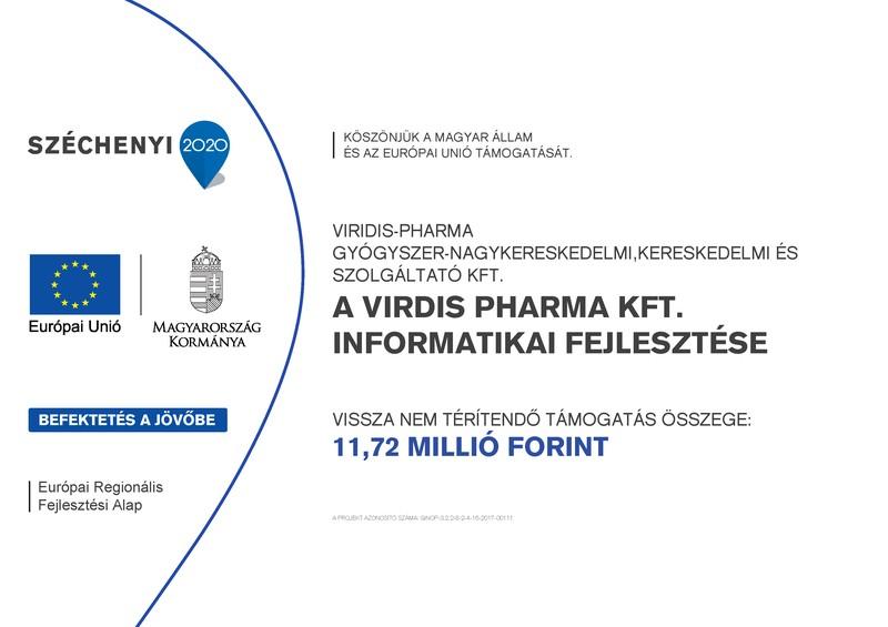 Széchenyi 2020 - A Virdis Pharma Kft. informatikai fejlesztése