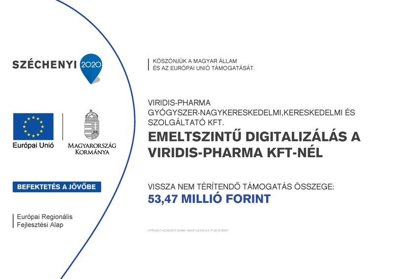 Széchenyi 2020 - Emeltszintű digitalizálás a Viridis-Pharma Kft-nél
