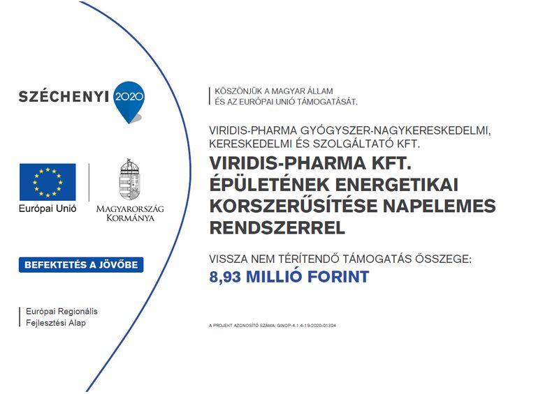 Széchenyi 2020 - Viridis-Pharma Kft. épületének energetikai korszerűsítése napelemes rendszerrel